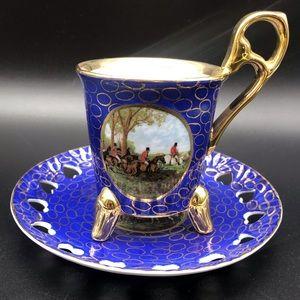 KPM Cobalt Blue & Gold Fox Hunt Tea Cup and Saucer